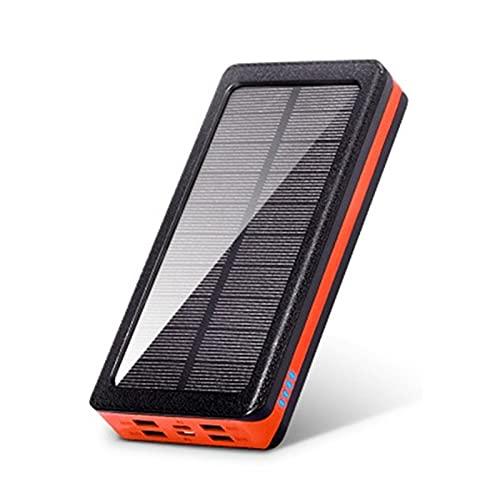 SUYING Banco de energía solar impermeable 50000 mAh, luz LED de camping con 4 USB, batería externa portátil, compatible con iPhone, Samsung, Huawei, tableta, etc. (20000 mAh, naranja)