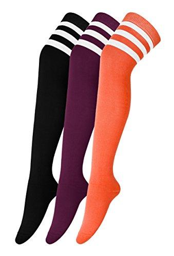 Urban GoCo Mädchen Overknee Überknie Kniestrümpfe Hold-up-Strümpfe Retro Schüler Knitting Sportsocken 3 Paare Mehrfarbig (E)