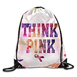 Etryrt Mochilas/Bolsas de Gimnasia,Bolsas de Cuerdas, Think Pink Breast Cancer Awareness with Ribbon Unisex Drawstring Backpack Travel Sports Bag Drawstring Beam Port Backpack.