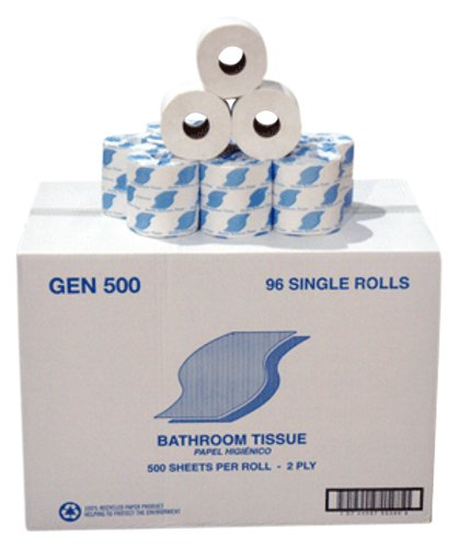 General Supply 500 Bath Tissue, 2-Ply, 500 Sheets Per Roll, White (Case of 96 Rolls)