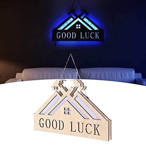 Luz nocturna, lámparas innovadoras Aplique de pared Lámpara LED de madera Lámpara colgante con control remoto de 24 botones Cinta de doble cara para dormitorio para sala de estar