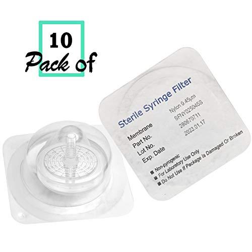 Biomed Scientific - Filtros de jeringa estériles de nailon, 25mm de diámetro, 0,45um de calibre, 10unidades por paquete