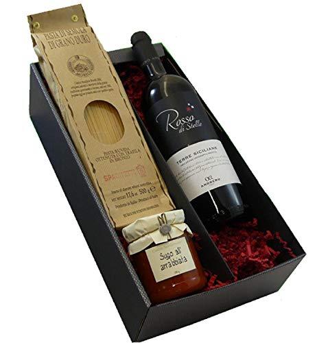 Geschenkset italienische Genüsse mit Rotwein aus Sizilien, Spaghetti und Sugo all Basilico