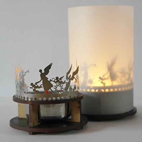 Teelichthalter Teelicht mit Dekosilhouette Geschenkidee Motivteelicht Schattenspiel für Teelichter, Motiv: Engel