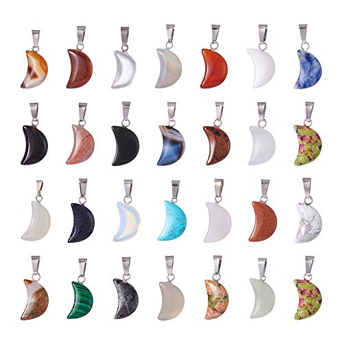 FASHEWELRY 50Pcs Crescent Moon Shaped Mixed Stone Pendants Healing Crystal Quartz Chakra Reiki Gemstone Charms for Necklace Jewelry Making Hole: 2x7mm