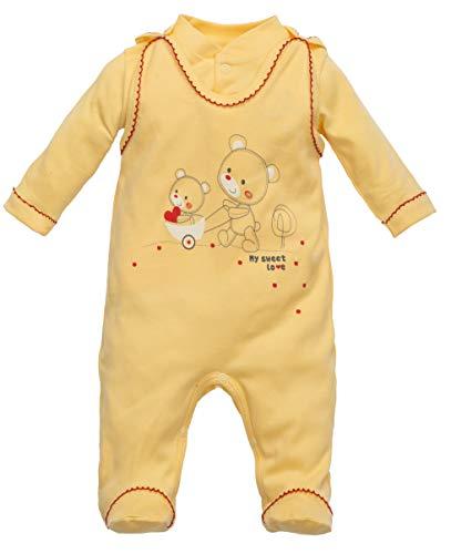 Makoma Baby Erstausstattung Unisex Strampler-Set mit Langarmshirt (50 – 74) (56, Gelb/Love)