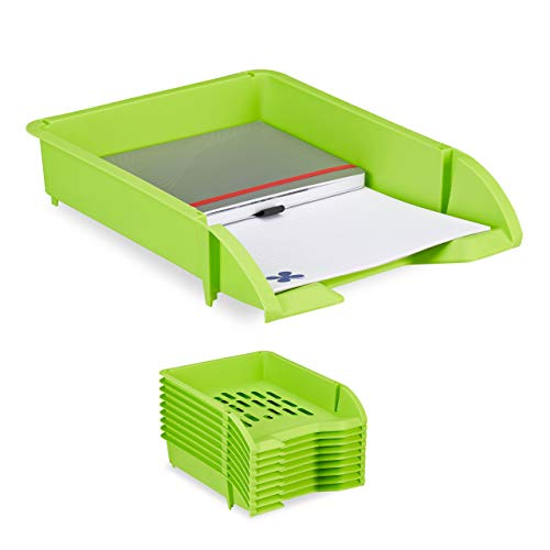 Relaxdays Portadocumenti a Incastro, per Fogli in Formato A4, Ufficio, Set 10 Contenitori di Plastica, Verde, HxLxP: 7 x 25 x 34 cm