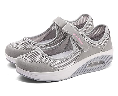 Sandalias para Mujer Malla Merceditas Plataforma Ligero Zapatillas Sneaker Casual Zapatos de Deporte Mocasines Negros Veran