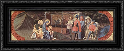 Scene Adoration of The Three Kings 24x12 Black Ornate Wood Framed Canvas Art by Paolo Uccello
