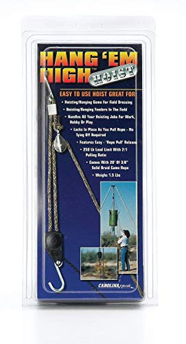 Rope Ratchet Rope Hoist Block and Tackle HH20 Hang 'em High Rope Hoisting, Hanging Feeder Pulley System - Block and Tackle Rope Hoist, 20-feet Solid Braided Rope & 250lbs Weight Capacity