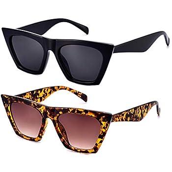2 Pair Square Cateye Sunglasses Women Trendy Fashion Retro Vintage Black Tortoise Shell Cat Eye Lady Thick Shade Small Mod Chic 90s 70s aesthetic oversized big large personalized style 2021 Mosanana