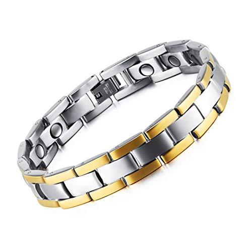 Feraco Mens Magnetic Bracelets for Arthritis Pain Relief Sleek Titanium Steel Silver Gold Magnet Therapy Bracelet