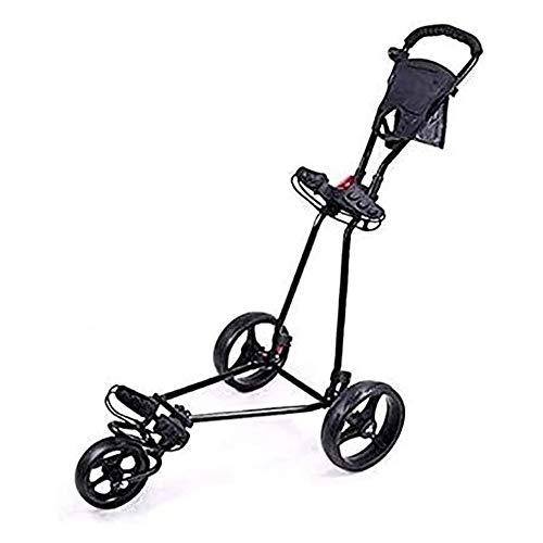 Golftrolley Golfwagen Golf Cart, DREI Rad-Wagen mit Schwenker Folding Pull Golf Cart, mit Anzeiger, Fußbremse, schnelles Öffnen und Schließen des Golf Cart