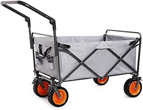 ZKHD Outdoor Utility Waggon Carts Waggon Einkaufen Lebensmittelwagen Faltbare Warenkorb Mit Universal Radbremsen Große Kapazität Vierradwagen Lasthalter 200Kg Einkaufskörbe