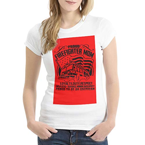 TengmiuXin Proud Firefighter Mom 3D Printed Multiple Patterns Men Women T-Shirt for Mother red Large