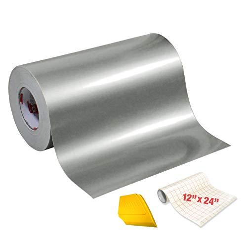 Oracal 651 Klebefolie, Hochglanz, Vinyl, 4,6 m x 30,5 cm, Rolle mit Transferpapier und hartem gelben Detailer-Rakel (Silbermetallic)