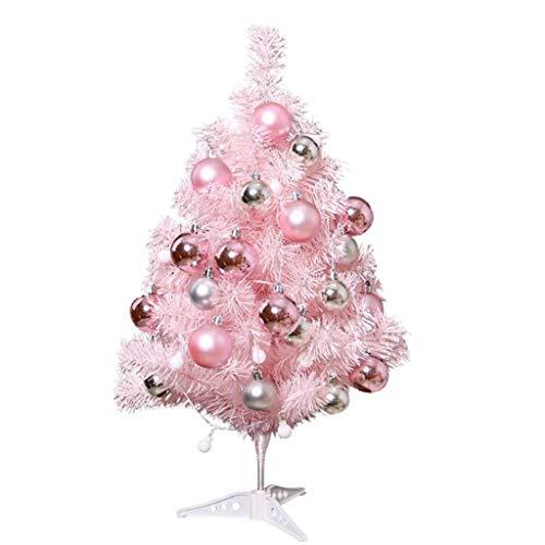 ABCDE Venta de decoración navideña, Árbol de Navidad Artificial del árbol de Navidad de la Mesa de 23.6 Pulgadas, con 50 Luces LED, la decoración de Escritorio casera Mini Navidad, Rosado