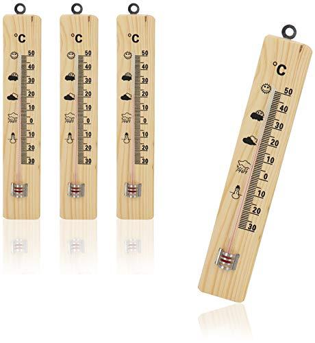 com-four® 4X Termómetro para Interior - termómetro de Madera con Ojal de Metal para Colgar - medidor de Temperatura con Escala en Grados Celsius (04 Piezas - 21.5x4x1cm)