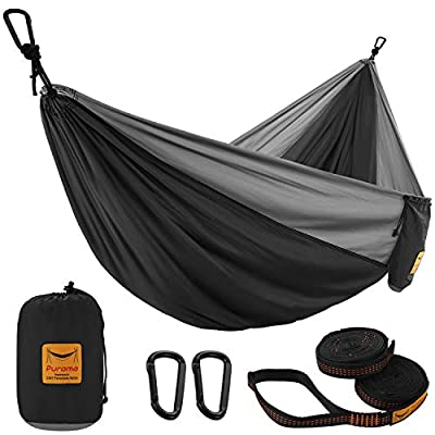 Puroma Camping Hammock Single & Double Portable Hammock Ultralight Nylon Parachute Hammocks with 2 Hanging Straps for Backpacking, Travel, Beach, Camping, Hiking (Black & Grey, Large)