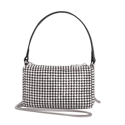 Montana West Silver Sparkly Clutch Small Crossbody Bag with Silver Rhinestones Bling Clutch Wallets CW-MWL-019-WT
