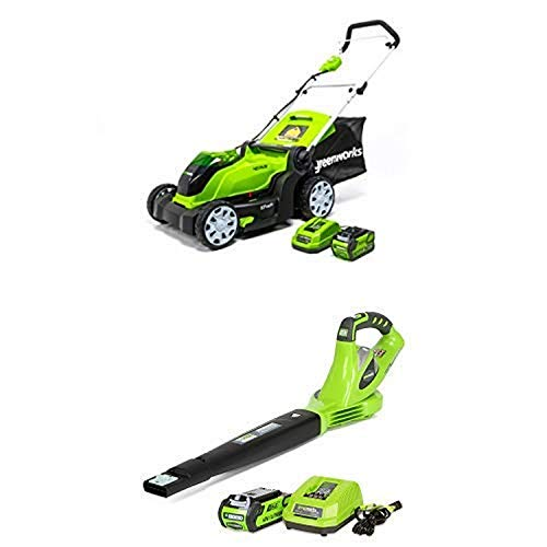 Greenworks 17-Inch 40V Cordless Lawn Mower with 40V 150 MPH Variable Speed Cordless Blower 2.0 AH Battery Included 24252