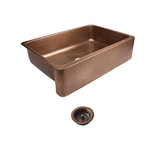 Sinkology sek307-33-amz-b lange farmhouse/apron-front 32 in. Single bowl strainer drain kitchen sink kit, antique copper