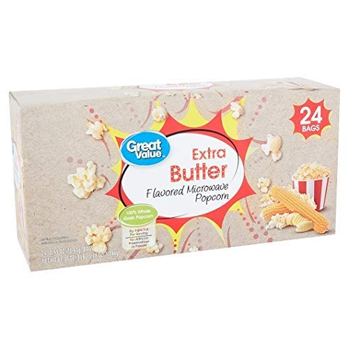 Review Great Value Extra Butter Flavored Microwave Popcorn, 2.55 Oz., 24 Count (Pack of 2)