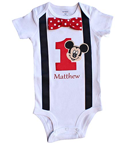 Perfect Pairz Baby Boys 1st Birthday Outfit Mouse Bodysuit RedPZ(24M Short Sleeve)