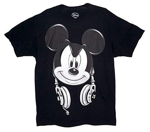 Disney Mickey Mouse DJ Headphones Mens T Shirt Top - Black White M