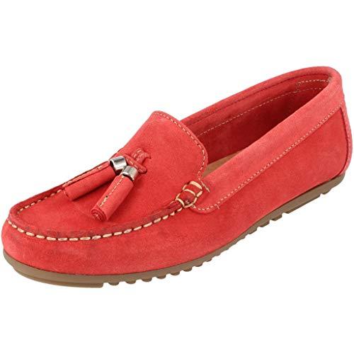 BOnova Damen Mokassin Capdapera in 4 Farben, Trendige Slipper aus hochwertigem Veloursleder - geschmeidige Loafer - hergestellt in der EU rot 39