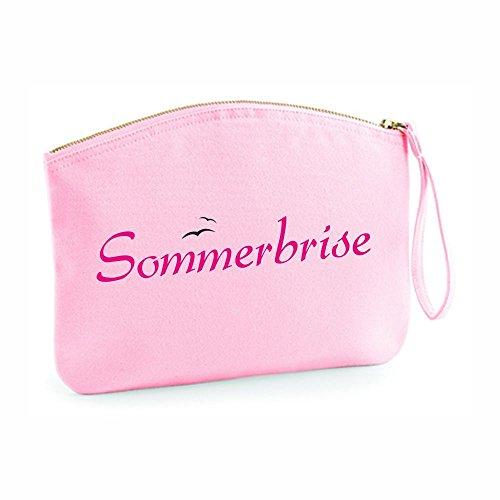 Kulturtasche Sommerbrise - Goldener Reißverschluss - Summerfeeling - Schminkbeutel - Kosmetiktasche - Kosmetikbeutel - Etui - Schminktasche - Mädchenkram - rosa oder hellblau (rosa)