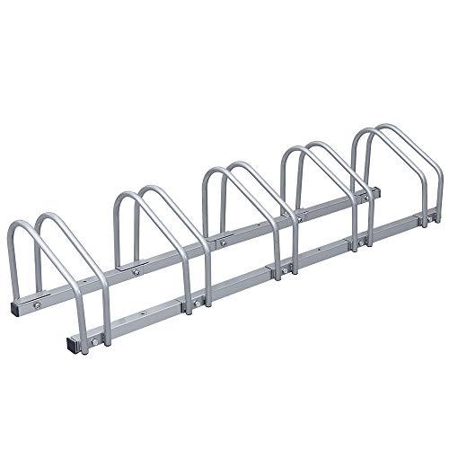 Tolletour Fahrradständer Boden und Wandmontage, Mehrfachständer Fahrradparker, Aufstellständer, Silber (für 5 Fahrräder)