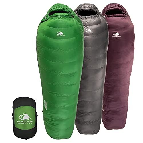 Hyke & Byke Katahdin 32F 15 0F 625 Fill Power Hydrophobic Sleeping Bag with Advanced Synthetic - Ultra Lightweight 4 Season Men and Women Mummy Bag Designed for Backpacking