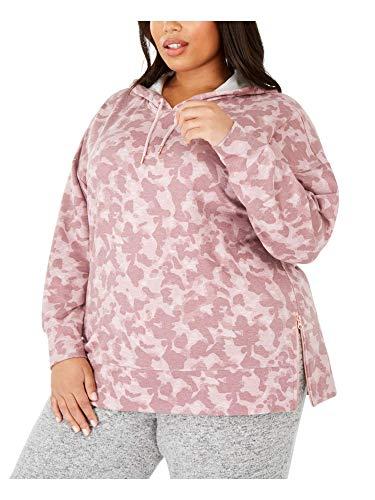 Ideology Sudadera con capucha de camuflaje con cremallera y dobladillo para mujer - rosa - 3X