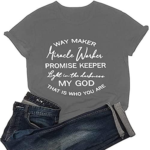 FOTBIMK Camisetas de mujer Casual letra impresión manga corta O-cuello suelto camiseta blusa Tops, gris, M