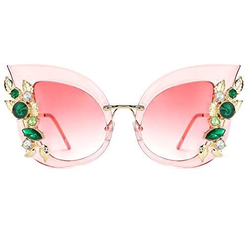 Slocyclub Womens Oversized Cat Eye Jeweled Sunglasses Stylish Bedazzled Rhinestone Sun Glasses