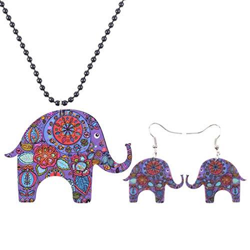 FUKAI Conjunto de joyería de elefante con impresión acrílica, collar y pendientes, joyería de animales de la selva para mujer al por mayor (color: púrpura)