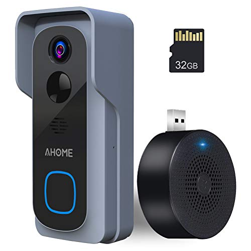 AHOME B1 Video Türklingel mit Kamera | Video Doorbell HD 1080P mit Innen-Gong, 6600mAh-Akku, Gegensprechfunktion, Bewegungsmelder, IP65 Wasserdicht, Nachtsicht, 2.4G WLAN, 32GB Speicherkarte - Grau