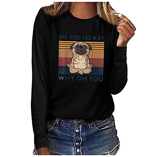 French Bulldog Yoga Tshirt Cute Frenchie Namaste Womens Long Sleeve Crewneck Pullover Tops Funny French Bulldog Shirts Black