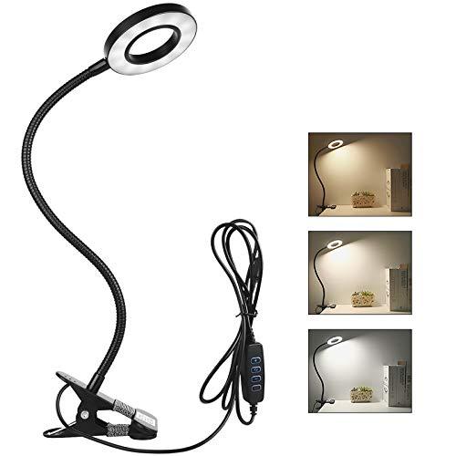 Semlos Klemme Leselampe Bett, 24 LED Buch Klemmleuchte, Nachttischlampe 3-Stufen Farbtemperatur 10 Helligkeit Dimmbar, 360 ° Flexibler Schwanenhals Schreibtischlampe, Clip Tischlampe Schwarz, 8W