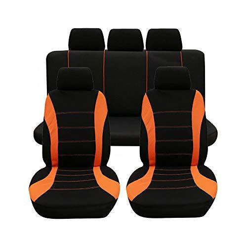GUOCU Auto Sitzbezüge Komplettset 5&7 Sitzer Autositzschoner Universal für Auto Vans MPVs Orange 9 Stück
