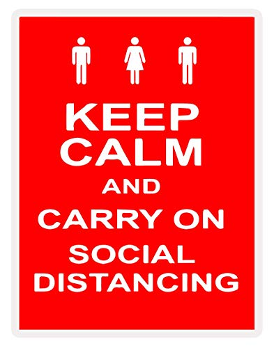 Ammy Graphics Pack of 5 Keep Calm and Carry On Social Distancing Covid 19 Coronavirus Safety Sign 7' x 5'