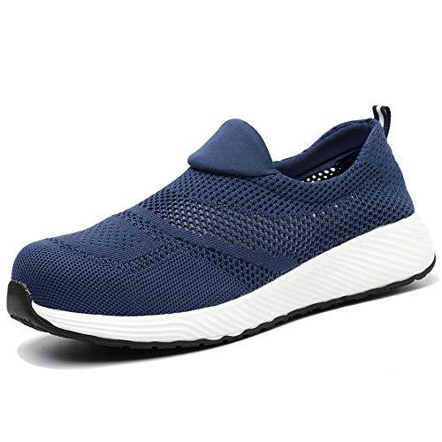 Verano Zapatos de Seguridad para Hombres Mujeres Acero Puntera Tapas Entrenadores Ligero Zapatos de Trabajo Transpirable Industrial Protección Zapatillas de Deporte, color Azul, talla 46 EU