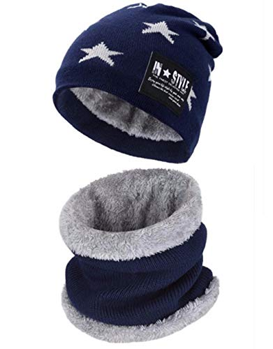 Wersoa Star Quality Men's and Women's Warm Knitted Fur Inside Winter Beanie Cap and Neck Scarf - Set of 2 Pieces (Blue)