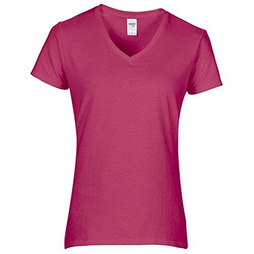 Gildan- Camiseta de algodón de calidad con cuello en forma de V para mujer (Mediana (M)/Granate)