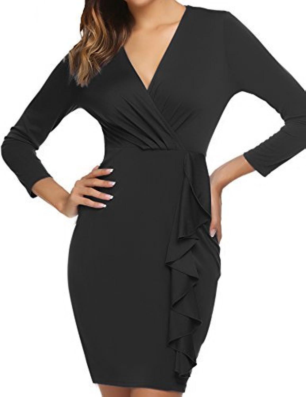 Beyove Women's Retro Ruffles Long Sleeve Slim Business Pencil Cocktail Wrap Dress