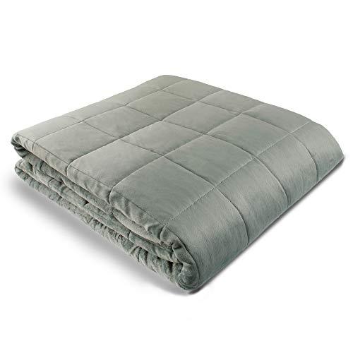 "Weighted Blanket - 60"" X 80"" - 12-lbs - No Cover Required - Fits Queen/King Size Bed - for 90-120-lb Adult - Silky Minky Grey - Premium Glass Beads - Calming Stimulation Sensory Relaxation"