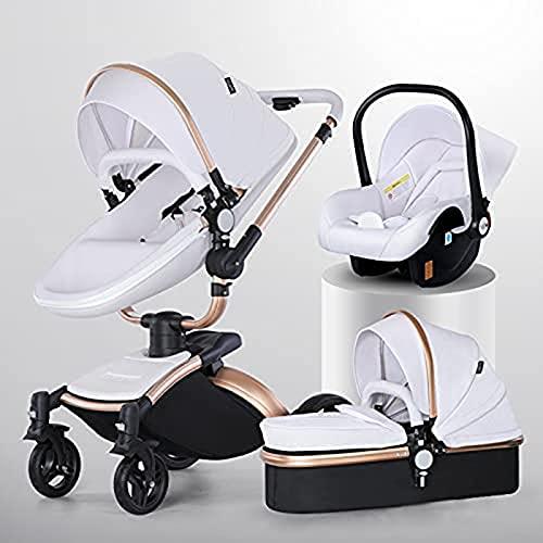 ZCZZ Cochecito cómodo 3 en 1, Asiento Ajustable en ángulo de Altura, Cochecito de bebé Ligero antichoque, Cochecito Alto Horizontal y Moderno, Cochecito de Aluminio Reversible