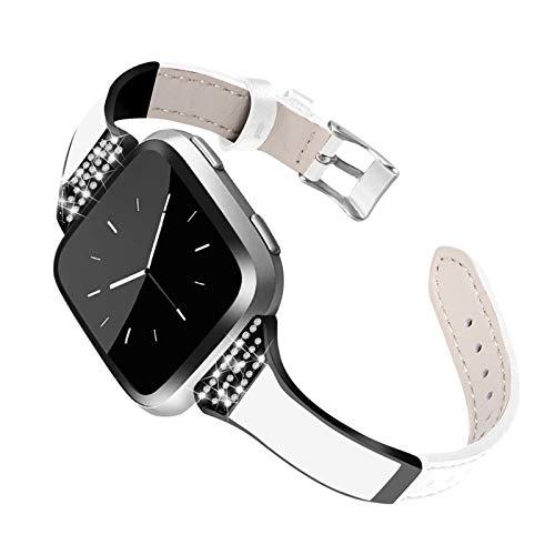 XIALEY Correa De Cuero para Mujer Compatible con Fitbit Versa 2 / Versa/Versa Lite, Correas De Repuesto De Pulsera De Diamantes De Imitación Compatible con Versa 2 / Versa/Versa Lite,Blanco
