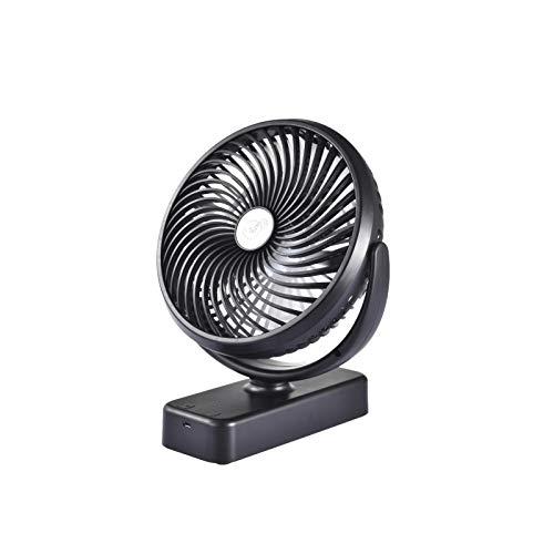 HUANRU Mini ventilador USB, ventilador de mesa con luz LED, tiempo de trabajo máximo 50 horas, ventilador de tienda con gancho para colgar, recargable con batería, para casa y oficina